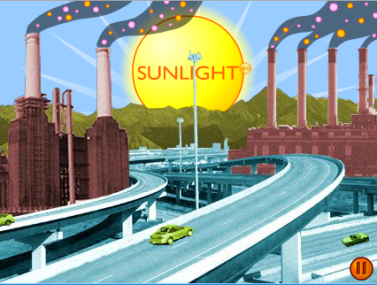 cartoon graphic of highway and industry