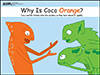 Coco, an orange chameleon, is talking to his friends, who are green.